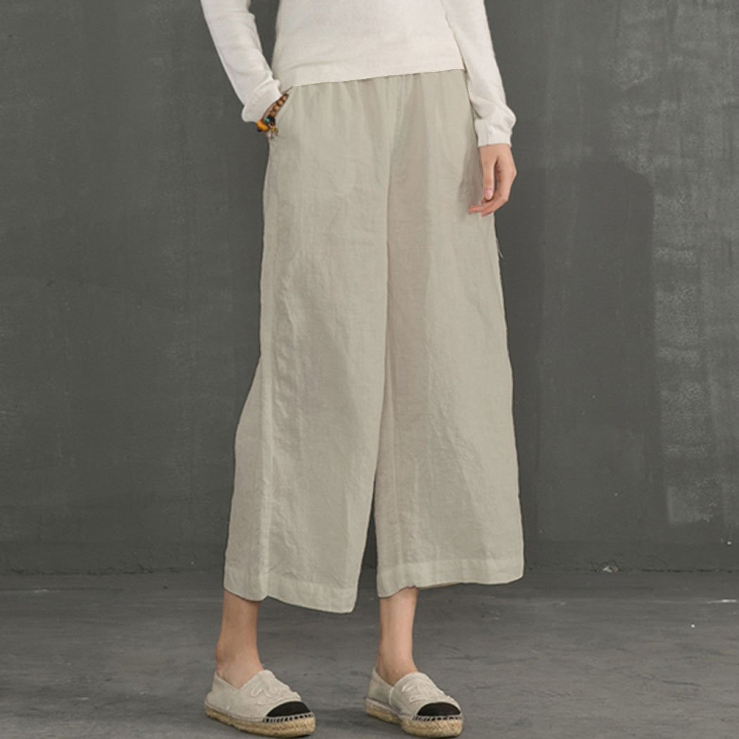 Minetom Pantalon Large à jambes et Fluides pour Femmes Confortable  Elastiqué Grande Taille 3   15d64a0d968b