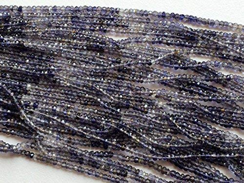 1 Strand Natural Shaded Iolite Micro Faceted Rondelle Beads, Shaded Blue Beads, Iolite Necklace Size 3-4mm, 14 Inch by Gemswholesale