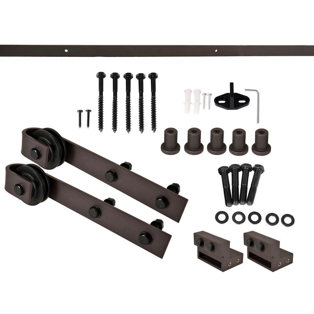Classic Bent Strap Barn Style Decorative Sliding Door Track and Hardware Set (6.6 FT, Antique Bronze) by Calhome (Image #4)