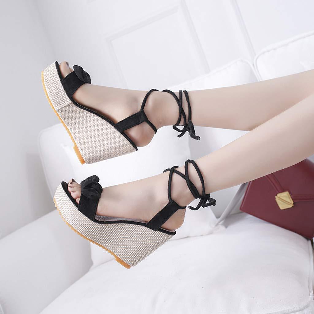 Sllve-hive Women/'s Fashion Comfortable Platformed Wedge Peep Toe Adjustable Lace-Up Solid Super High Sandals