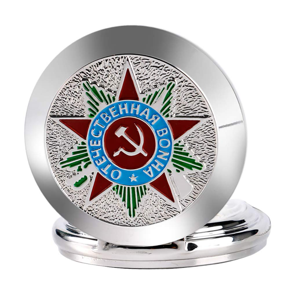 Luxury Pocket Watch, Silver Russia Soviet Sickle Hammer Communism Badge Pocket Watch, Vintage and Retro Gift for Men by mygardens (Image #5)