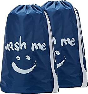 HOMEST 2 Pack Wash Me Travel Laundry Bag, 28 x 40 Inches Travel Dirty Clothes Shoulder Bag with Drawstring, Large Hamper Liner, Rip-Stop Nylon, Machine Washable, Blue