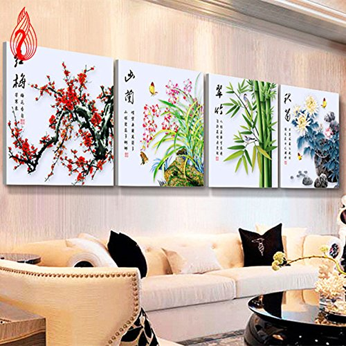 YGS-3 DIY 5D Diamond Mosaic Plum Orchid Bamboo Chrysanthemum flowers Diamond Painting Cross Stitch diamond embroidery Home Decoration zhuanshihua Made in China