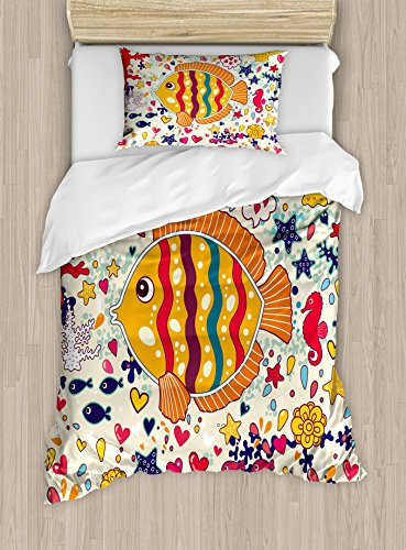 Kids Duvet Cover Set Twin Size by Ambesonne, Under the Sea Theme with Cartoon Creatures Fish Seahorse Bubble Ocean Wave Octopus, Decorative 2 Piece Bedding Set with 1 Pillow Sham, Multicolor (Bedding Kids Inexpensive)