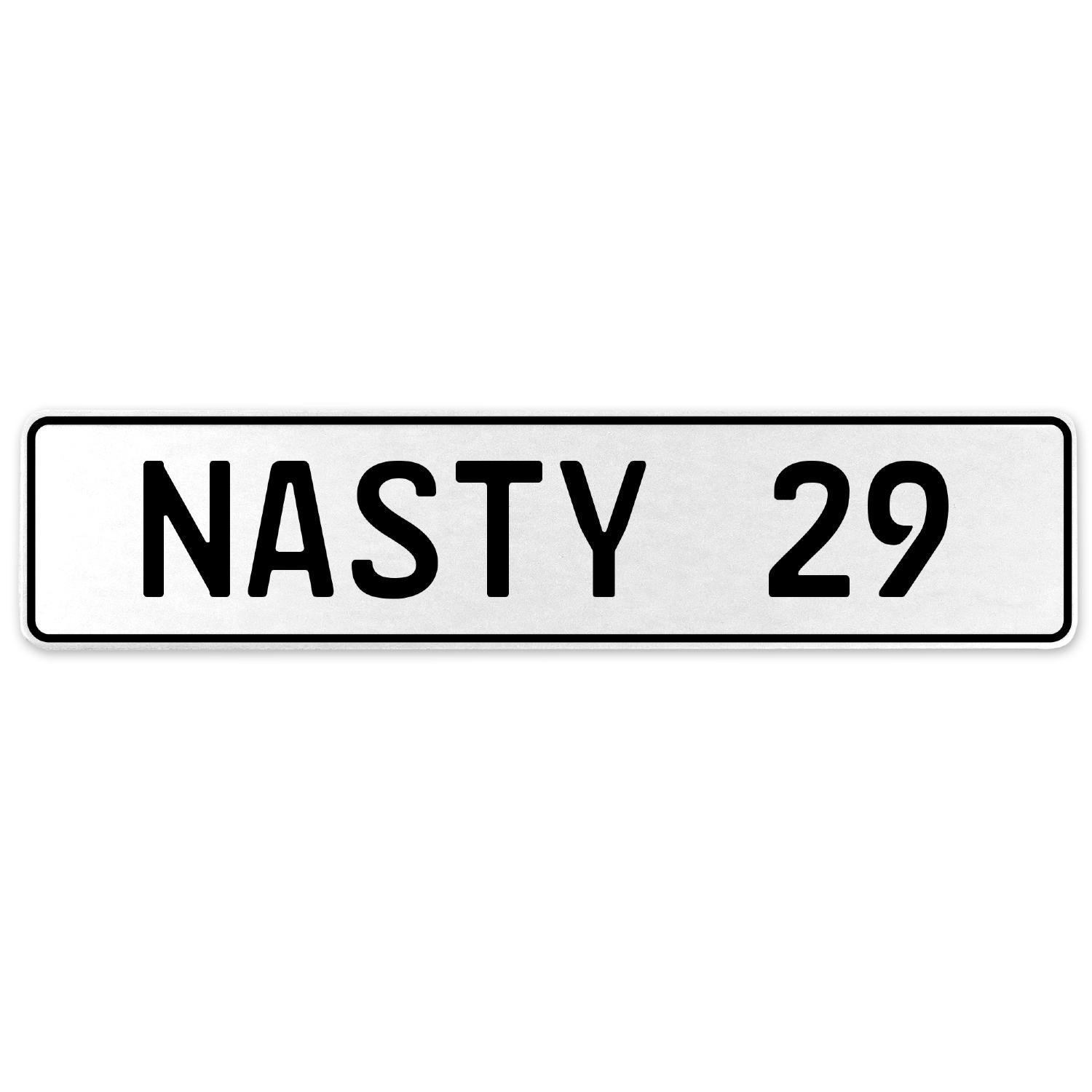 Vintage Parts 556903 Nasty 29 White Stamped Aluminum European License Plate