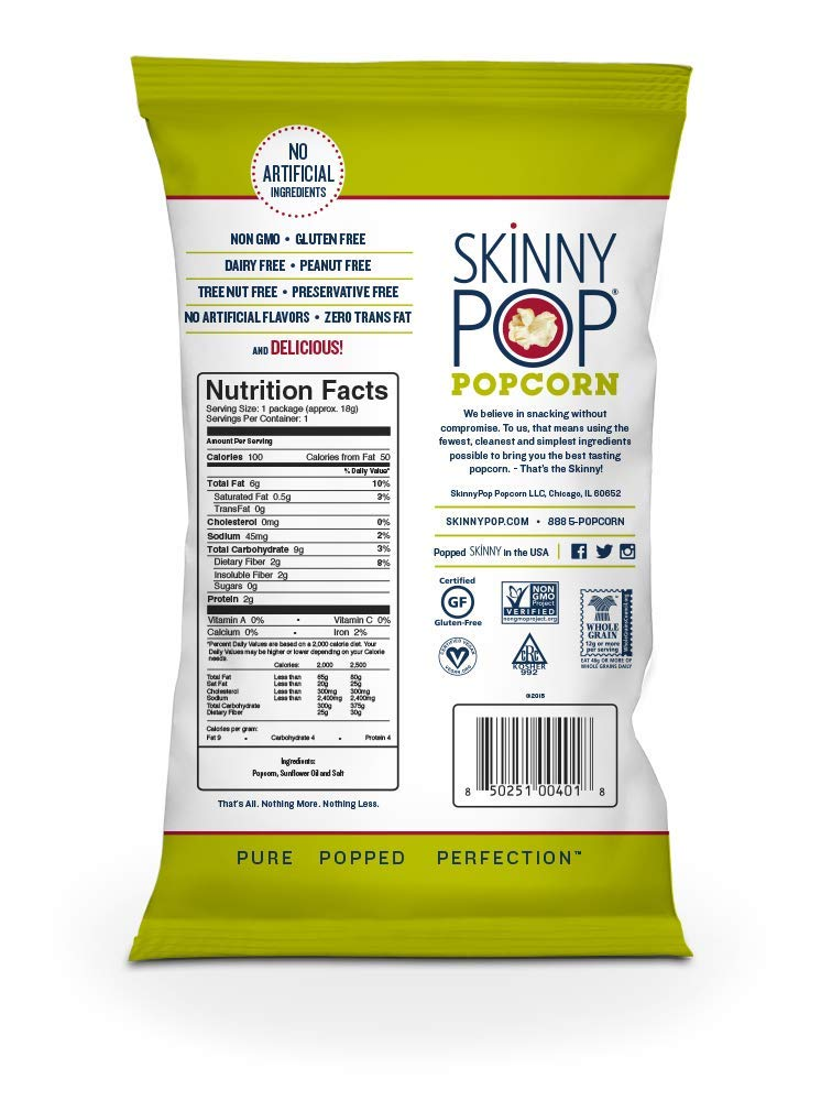SKINNYPOP Original Popped Popcorn, 100 Calorie Bags, Individual Bags, Gluten Free Popcorn, Non-GMO, No Artificial Ingredients, A Delicious Source of Fiber, 0.65 Ounce (Pack of 30) by SkinnyPop (Image #3)