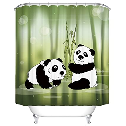 FastEngle Panda Shower Curtain Waterproof Polyester Custom Fabric Set Machine Washable For Bathroom