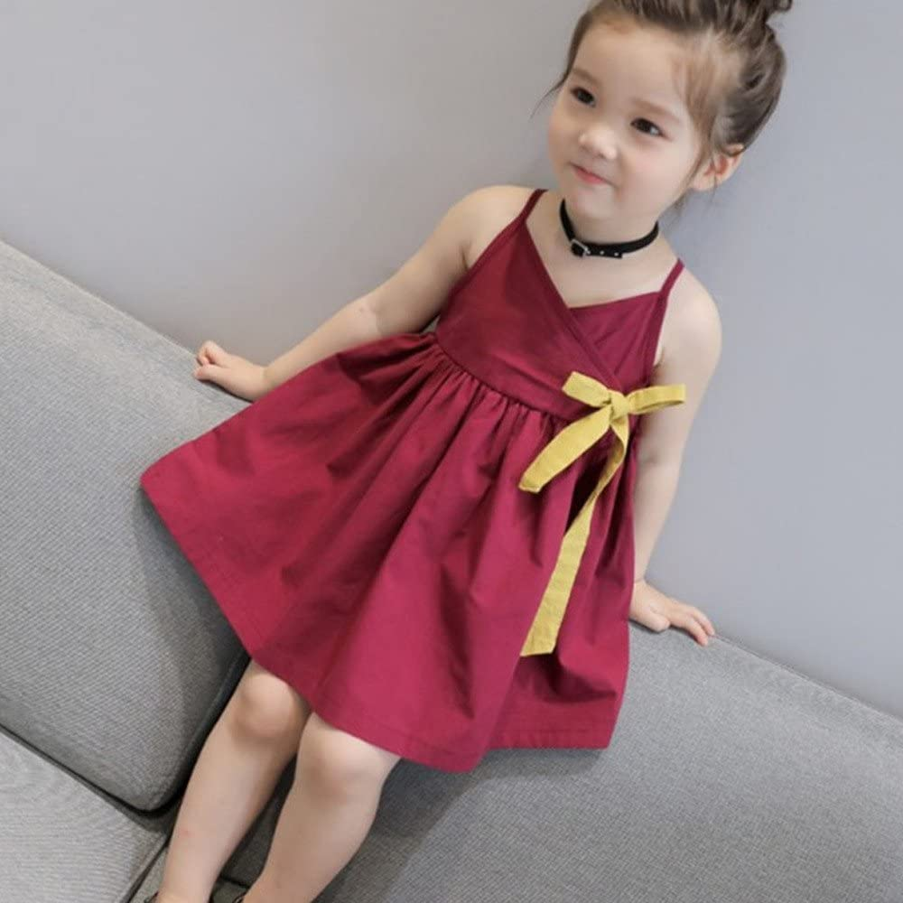 Fenleo Kids Baby Girls Wine Red Bowknot Straps Party Wedding Princess Dress