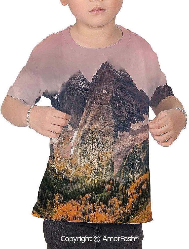 Fall Decorations Original Printed Short Sleeve Shirt Size XS-2XL Big,Idyllic Mou