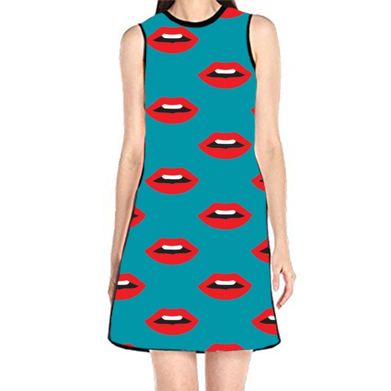 Womens Sleeveless Sundress Lips Print Print T-Shirt Dress A-Line Tunic Shirt