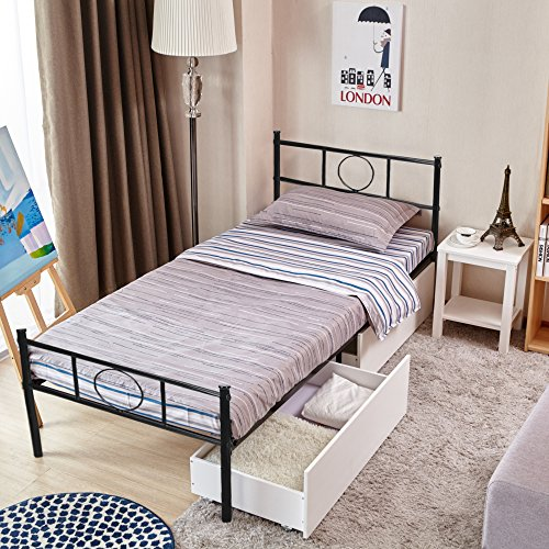 Metal bed frame twin size greenforest 6 legs mattress for Kids twin size bed frame