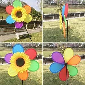 GMSP Sunflower Colorful Windmill Kid Toys Lawn Garden Ornaments 28.35/×11.8 Wind Spinner Pinwheel.