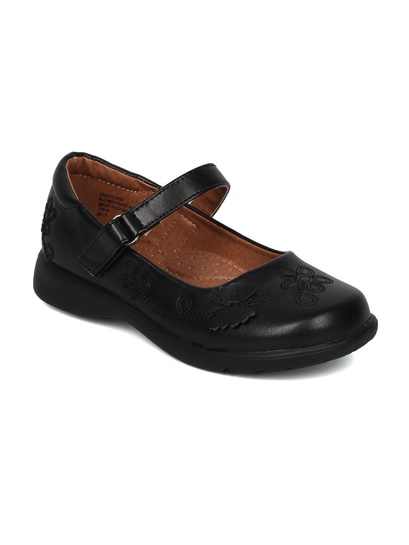 Alrisco Girls Leatherette Round Toe Butterfly Mary Jane Uniform Shoe HC35 - Black Leatherette (Size: Little Kid 12)