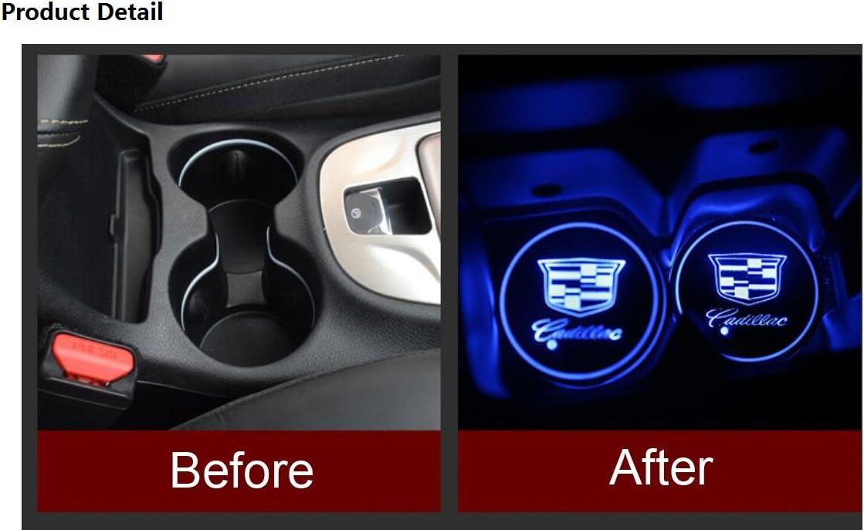 2pcs Porte-gobelets de Voiture Pad Bouteille deau /étanche boissons Coaster int/égr/é Logo lumi/ère RGB 7 couleurs Coupe USB Tapis de charge Pad for Volkswagen Voitures Color : Color1