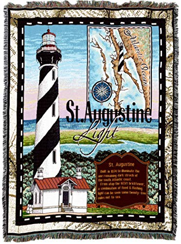 Pure Country Weavers | St Augustine Lighthouse Woven Tapestry Throw Blanket Collector Gift with Fringe Cotton USA 72 54 ()