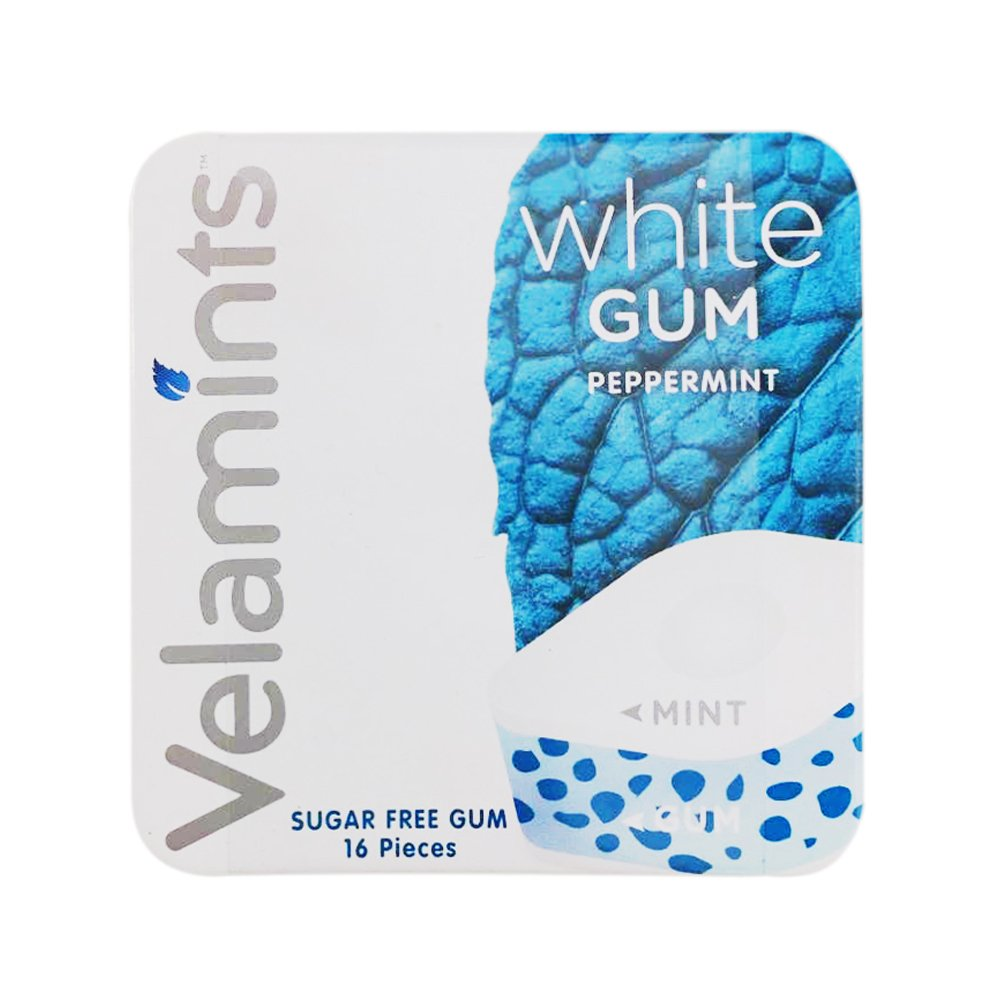 Velamints New Sugar Free White Peppermint Gum Tin (Pack of 2)