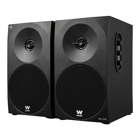 Woxter DL-410 - Altavoces estéreo 2.0 (autoamplificados con 150W de potencia, madera, woofer de 4