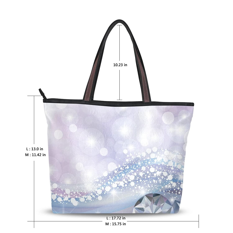 LEEZONE Women Fashion Microfiber Shoulder Handbags with Diamond Jewel Printing Tote Bags