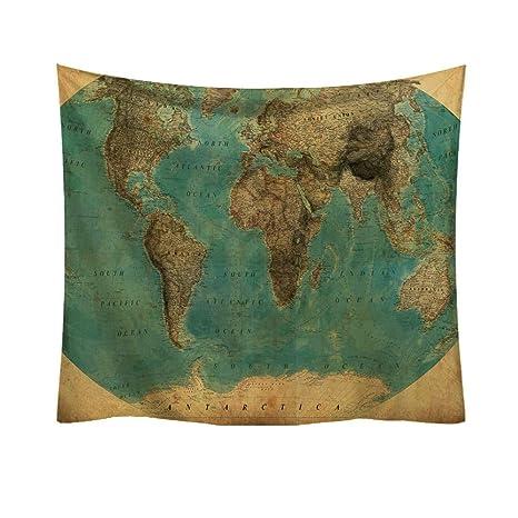 Anliyou - Tapiz de Pared con diseño de Mapa del Mundo ...