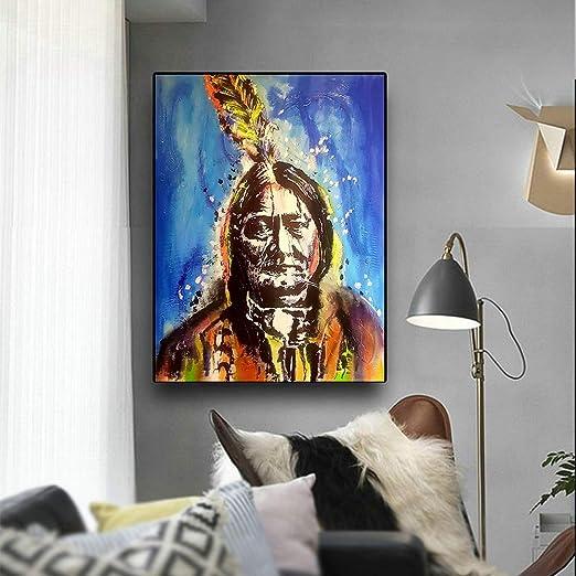 Geiqianjiumai Retrato de Plumas indígenas Indio Pintura al óleo ...