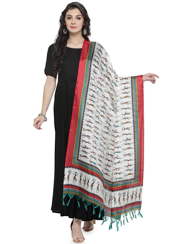 Indian Handicrfats Export Varanga Red /& White Printed Bhagalpuri Art Silk Dupatta