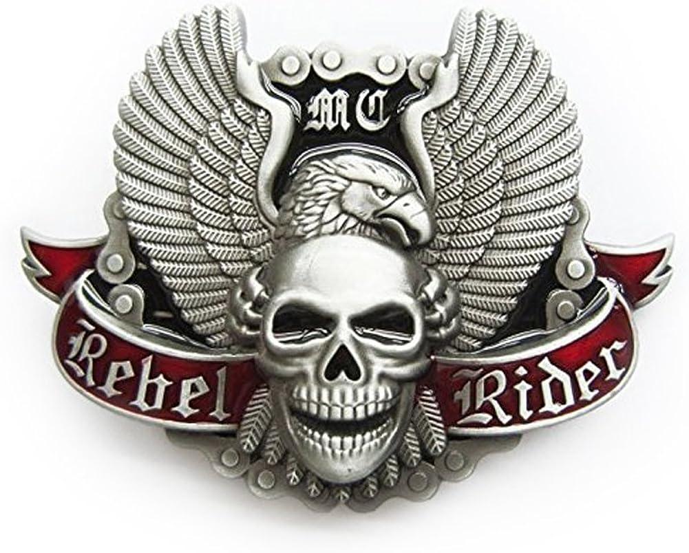 eeddoo/® G/ürtelschnalle Skull Rebel Rider Buckle f/ür Wechselg/ürtel f/ür Damen und Herren | Belt Frauen M/änner Oldschool Rockabilly Metall Gothic Wave Rock Biker Western Trucker Casino Skull