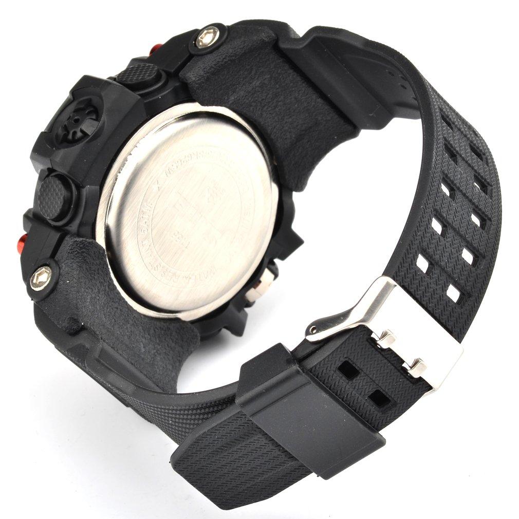 Oumosi - Orologio da polso da uomo, stile militare, con LED, digitale e analogico multifunzione, sportivo Red