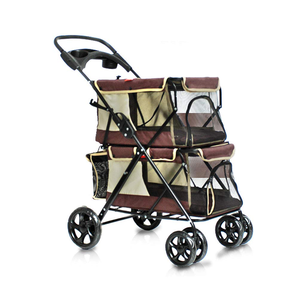 BROWN Puppy Cat Pet Travel Stroller Pet Trolley Pushchair Rear Brakes Maximum Load 20kg (color   BROWN)