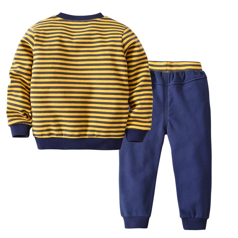 XINXINHAIHE Kid Boy Spring Set 2pcs Long Sleeve Stripe Graphic Tee Shirt Pants Outfit