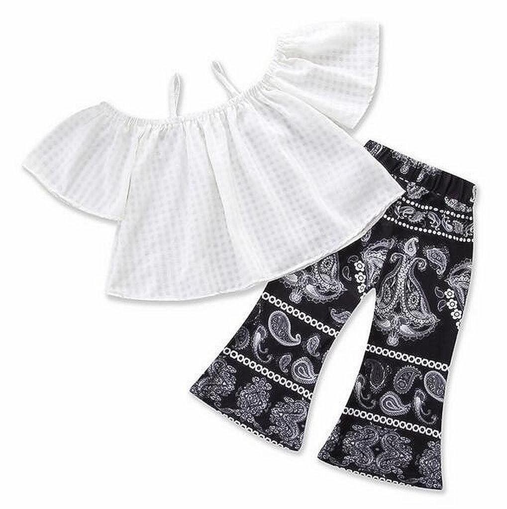 Pivaconis Little Girls Cold Shoulder Top Boho Print Bell Bottom Pants 2 Pcs Outfits Sets