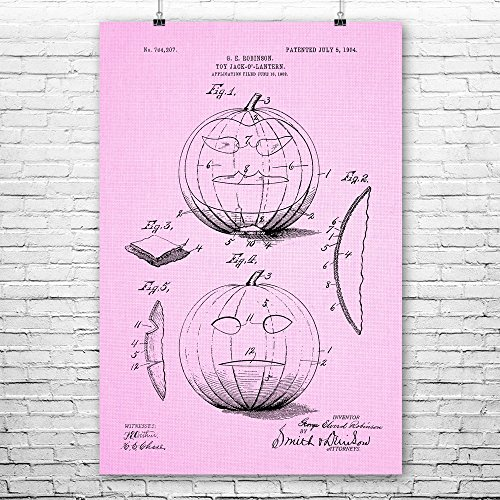 Patent Earth Halloween Jack-o-Lantern Poster Print, JackoLantern, Pumpkin Carving, Haunted House, Halloween Theme, Devils Night Pink Cloth (9