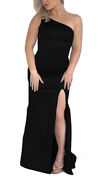 9b6e364d29e DKBridal One Shoulder Slit Prom Dresses Long Satin Bodycon Evening Gowns  Black 2
