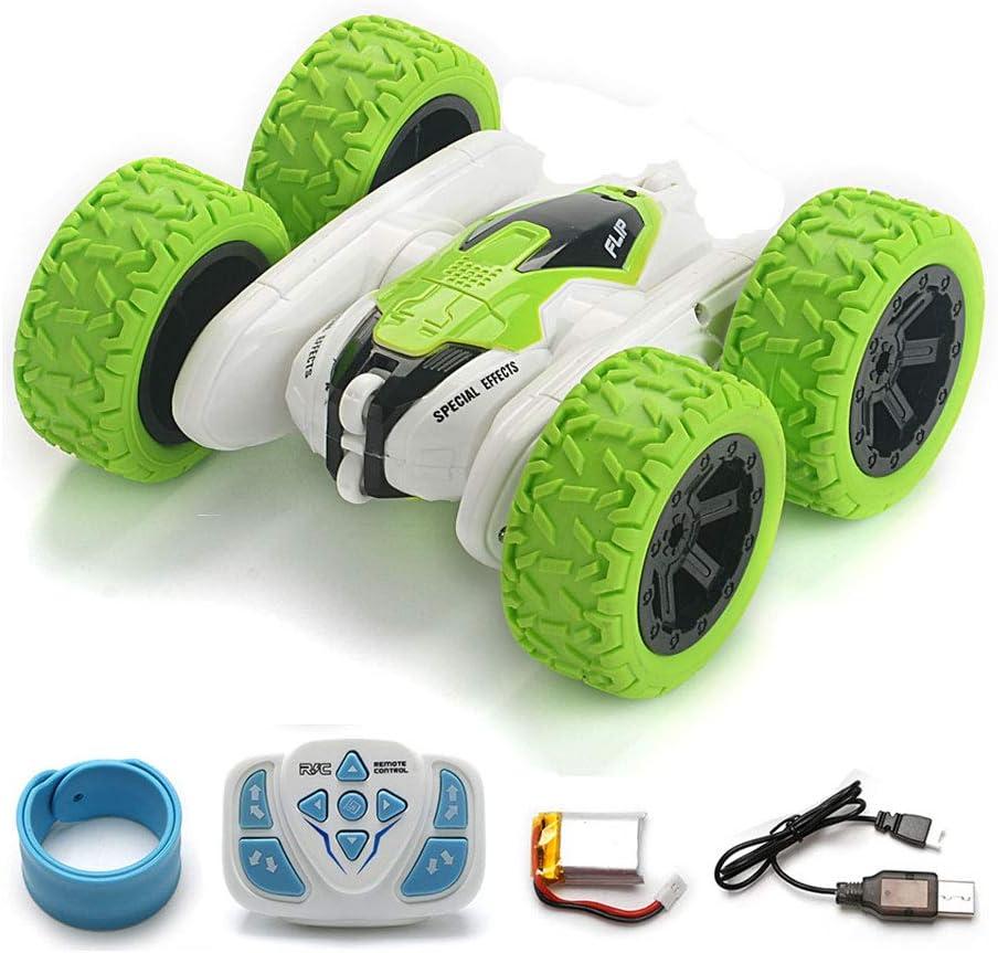BKMYT Stunt Coche Teledirigido de 4WD, Control Remoto Rotación de 360 Grados 2.4Ghz Vehículo de Carreras Doble Cara con Luz LED Juguetes para Niños Adultos (Green)