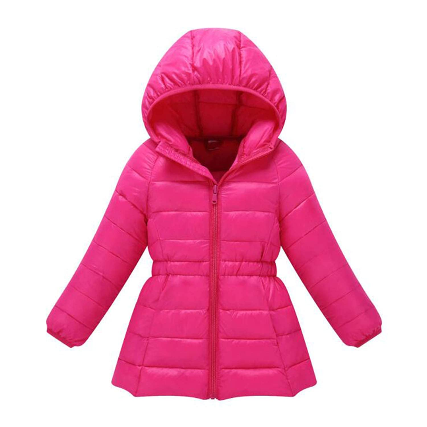FIZUOXVE Little Girls Winter Quilted Parka Coat Long Sleeve Hooded Padded Puffer Long Jacket Outwear