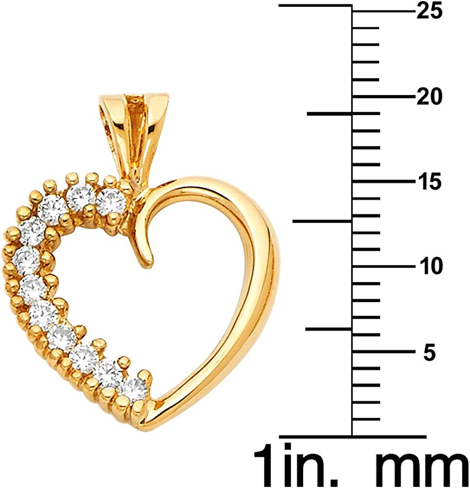 Precious Stars Jewelry 14k Yellow Gold Cubic Zirconia Open Heart Pendant with 1.7-mm Yellow Gold Flat wheat Chain
