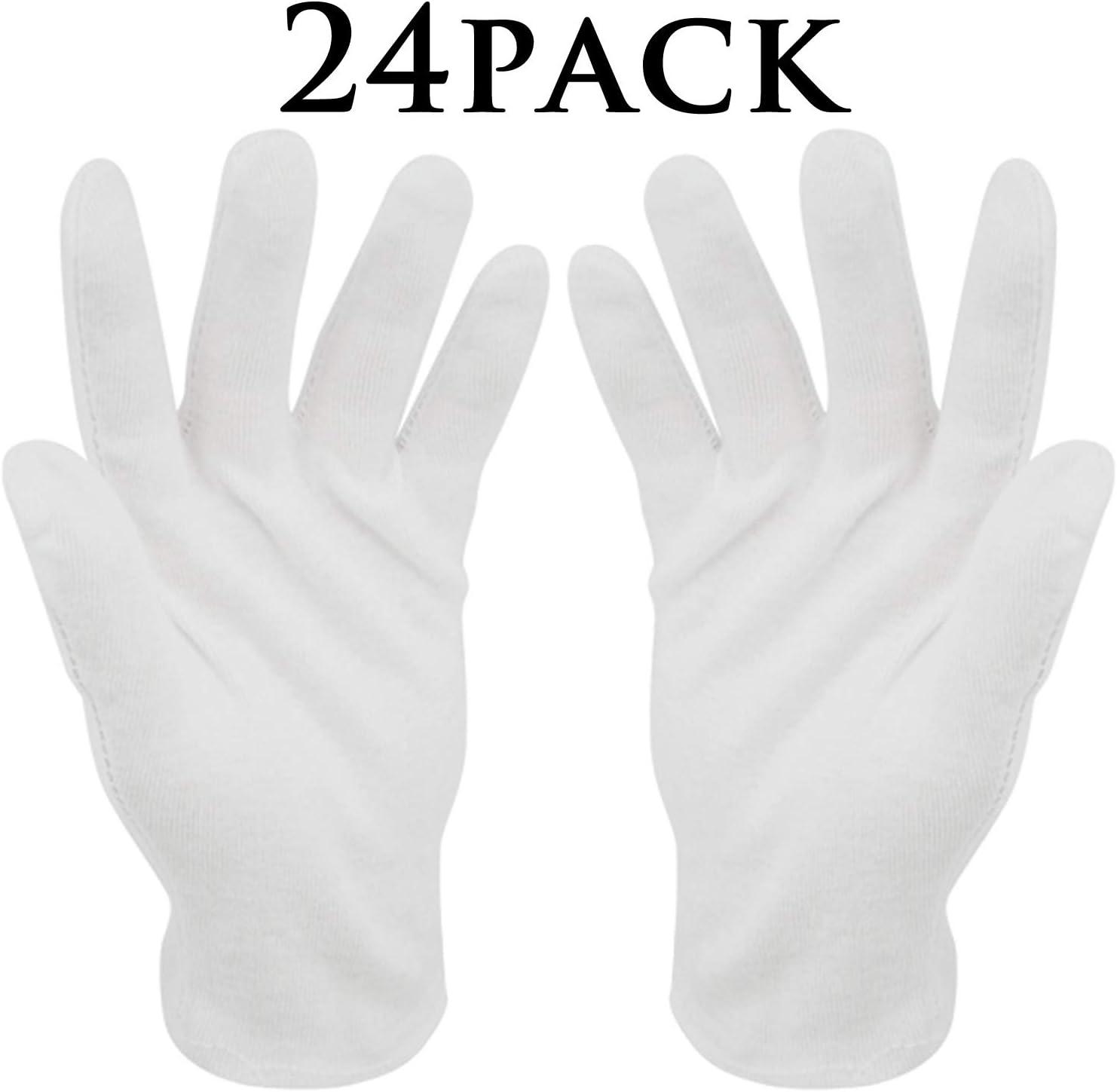 Guantes de algodón blanco,12 pares BESTZY Guantes terapéuticos ...