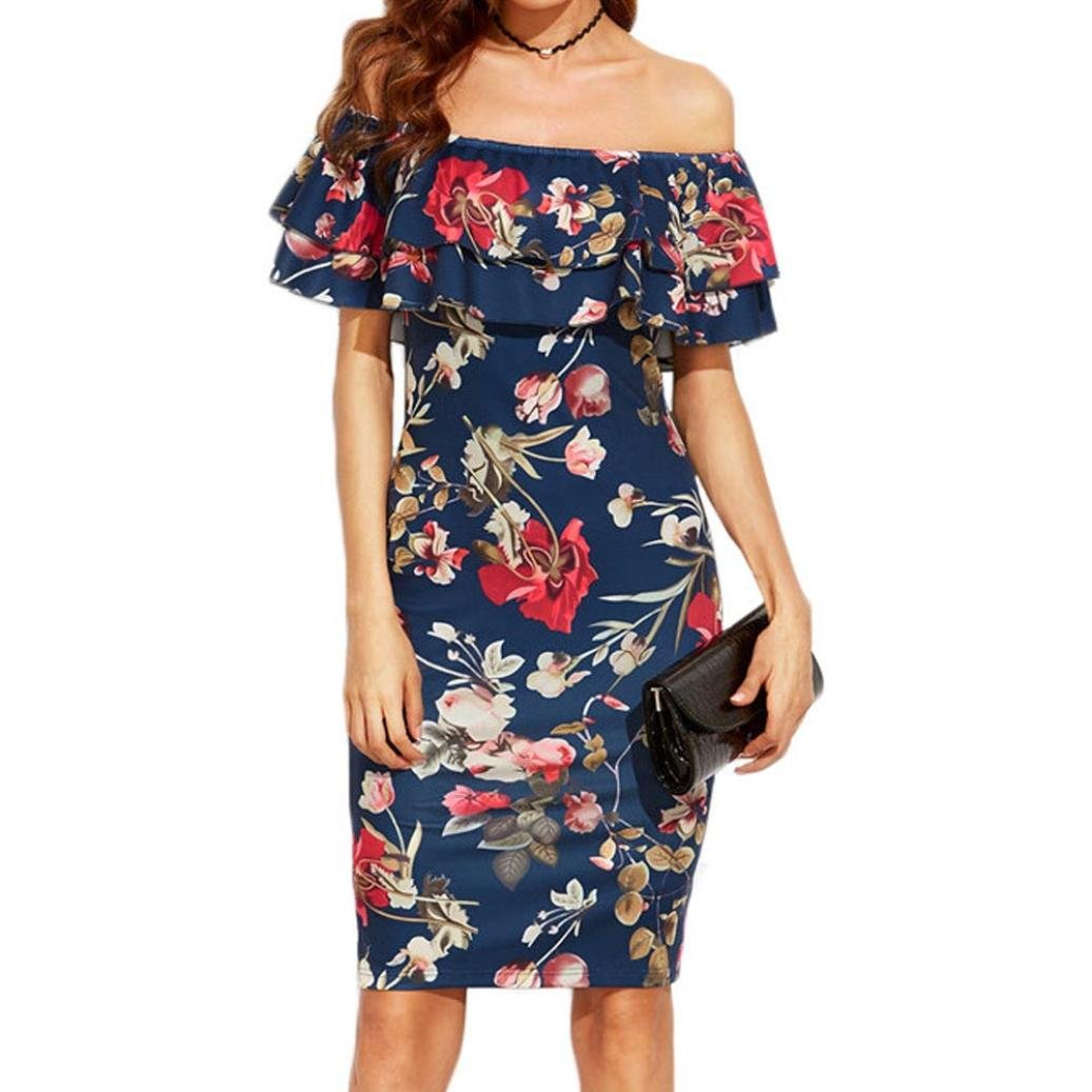 Summer Dress, Familizo Ladies Floral Print Off The Shoulder Ruffle Dress