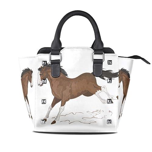 bd62c59bcda Amazon.com: Running Cartoon Horse Leather Handbags Purses Shoulder ...