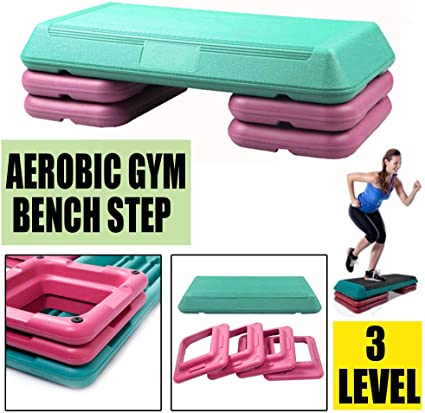"""8/"""" Fitness Stepper Workout W// Risers 27/'/' Exercise Aerobic Step Adjust 4/"""" 6/"""""""