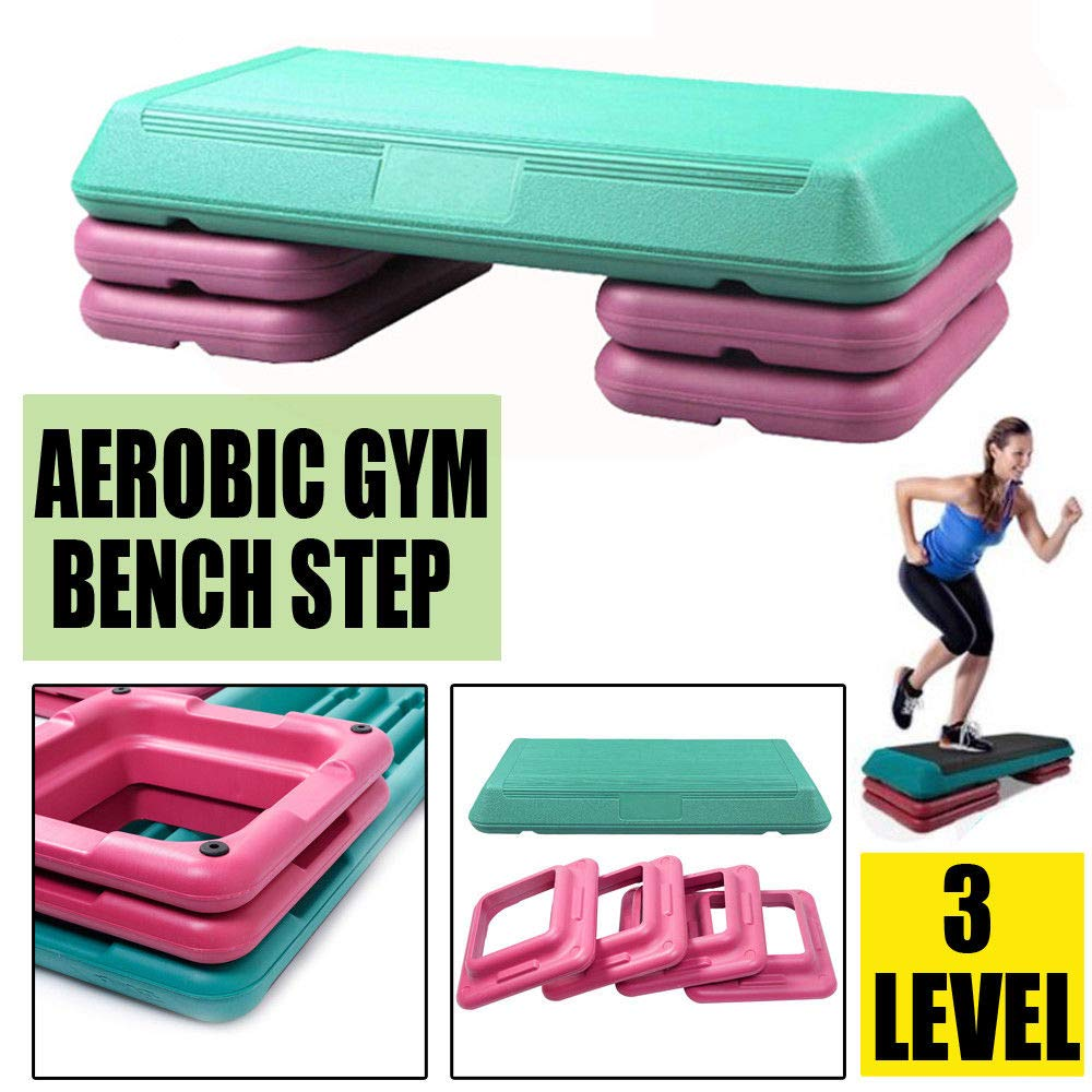 29'' Fitness Aerobic Step Platform with 4 Adjustable Risers 4'' 6'' 8'' Exercise Stepper for Home Gym & Cardio Workout