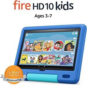 """All-new Fire HD 10 Kids tablet, 10.1"""", 1080p Full HD, ages 3–7, 32 GB, Sky Blue   Amazon"""