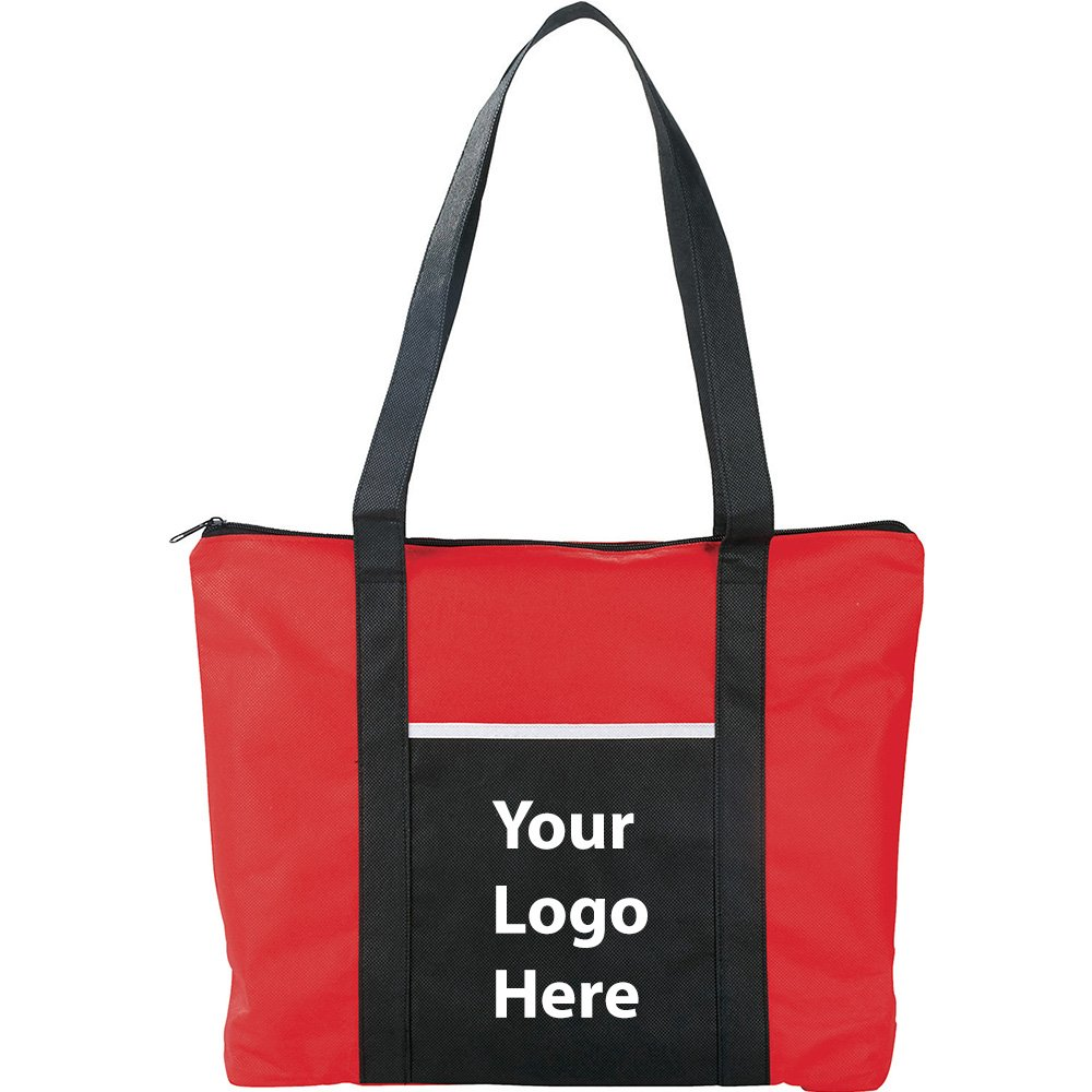 Timeline Zipper Business Tote - 150 Quantity - $2.20 Each - PROMOTIONAL PRODUCT / BULK / BRANDED with YOUR LOGO / CUSTOMIZED