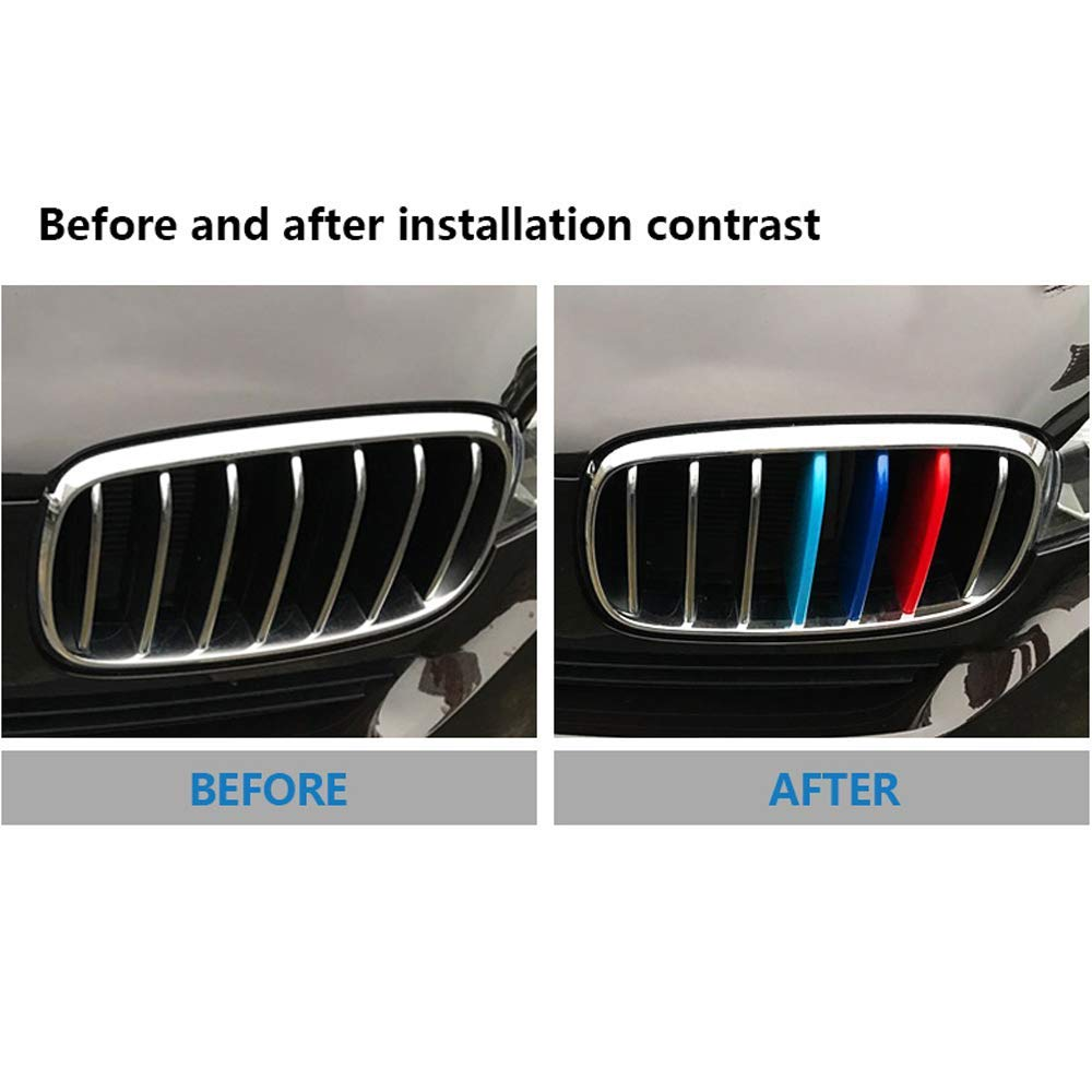 -Kidney Grills Insert Accessories-M-Color Front Grille Stripe Decals More Comprehensive and Professional Sataka-for BMW X1 F48 2016-2018 7 Grilles