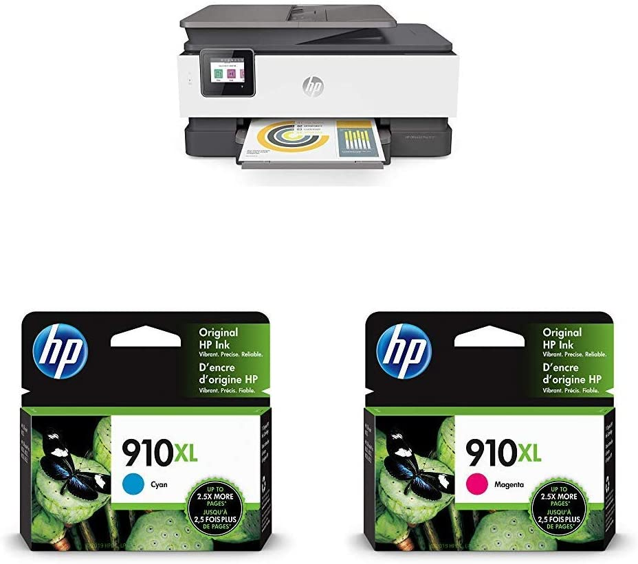 HP OfficeJet Pro 8025 All-in-One Wireless Printer, Smart Home Office Productivity (1KR57A) with XL Ink-Cartridges - 4 Colors