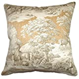 "The Pillow Collection P18FLAT-42106-SAFARI-C100-BACK Feramin Toile Throw Pillow Cover, 18"" x 18"""