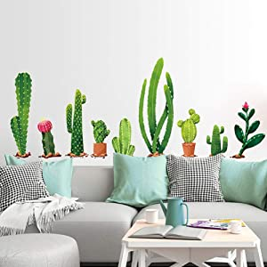 Youyouyu Cactus Wall Decal Green Plants Wall Sticker Tropical DIY Novelty Wall Art Mural for Classroom Offices Bedroom Living Room Home Decoration (A Cactus)
