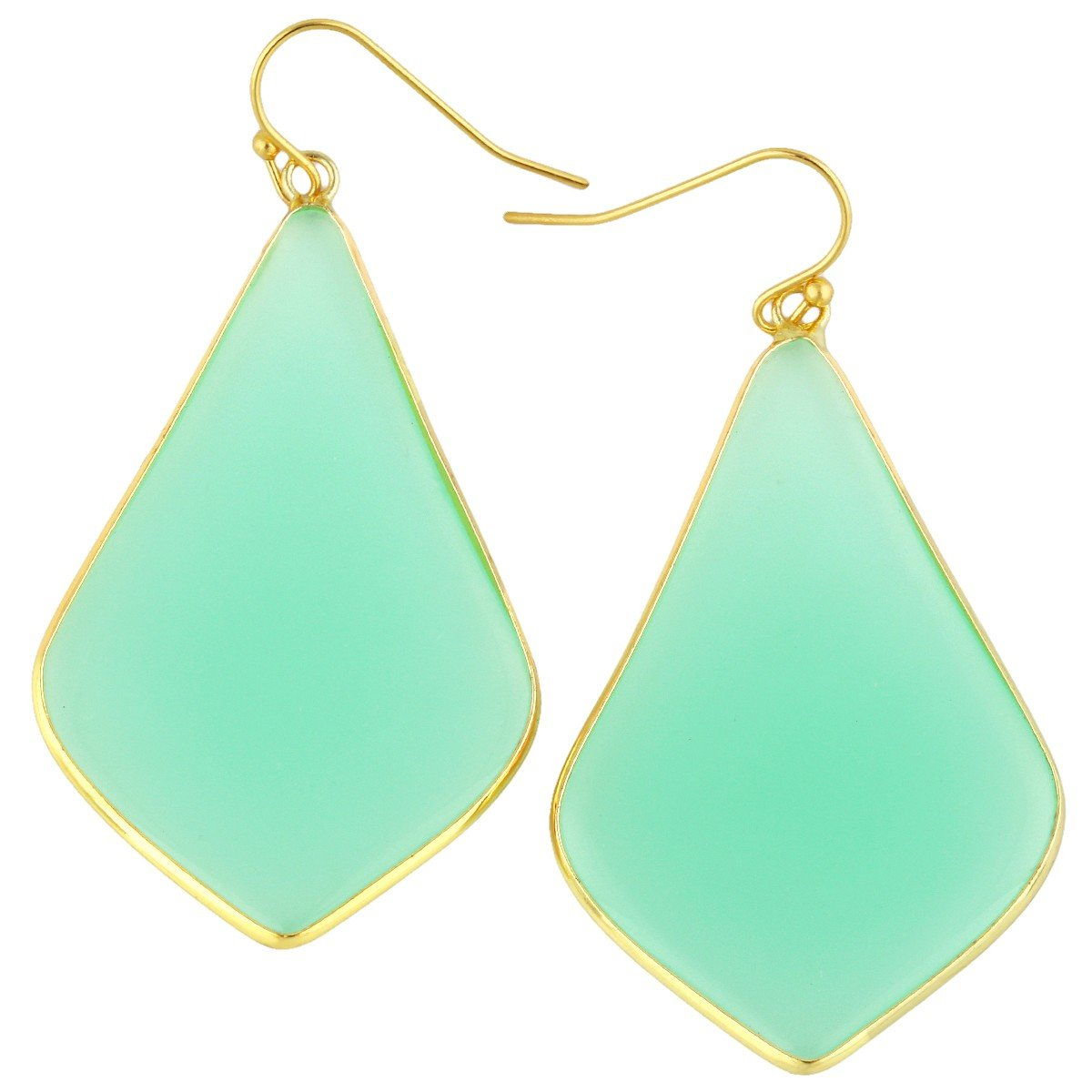 rockcloud Crystal Stone Dangle Earrings Gold Plated, Rhombus Shape, Green Crystal Glass by rockcloud
