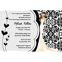 Damask Bridal Shower Wedding Invitations Personalized Your Color