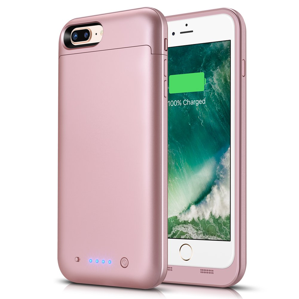 LCLEBM iPhone 7 Plus/8 Plus Battery Case, 7000mAh Portable Charger Case Rechargeable Extended Battery Pack Protective Backup Power Bank Cover for Apple iPhone 7/8 Plus (Rosegold)