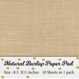 Printable Natural Burlap Paper Pad | Burlap scrapbooking supplies | Laminated Burlap Paper for Burlap Prints | Burlap card stock - Size 8.5 inches x 11 inches - 10 sheets in 1 pack
